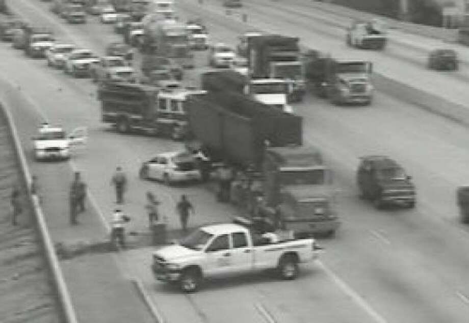 A wreck blocked part of the North Loop westbound approaching I-45 this afternoon. Photo: Houston TranStar