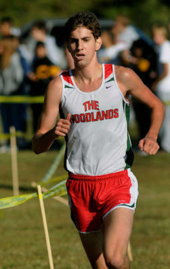 Reed Connor of The Woodlands cruises to his first-place finish at the District 14-5A Cross Country meet at Carl Barton Park in Conroe on Thursday. Photo: Jerry Baker, For The Chronicle