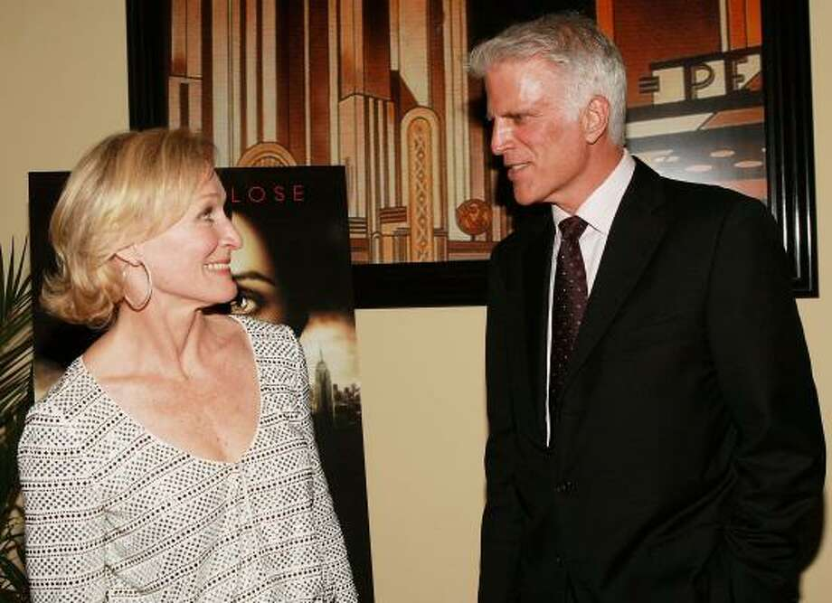 Glenn Close and Ted Danson have a chat at a party at Cipriani's in New York after last month's premiere of the FX series Damages. Photo: EVAN AGOSTINI, GETTY IMAGES