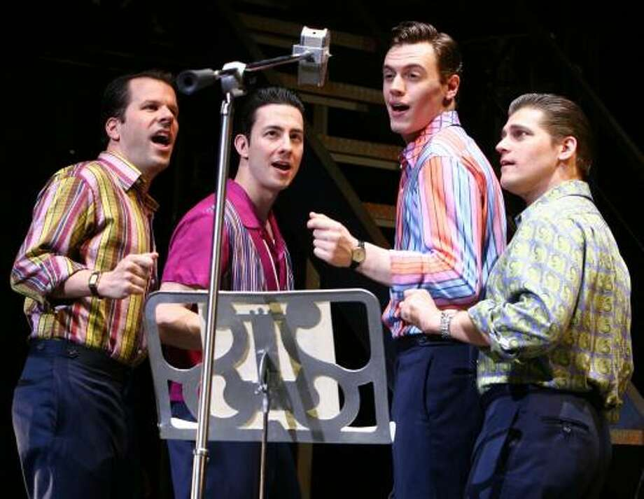 The Four Seasons, played by Steve Gouveia, from left, Christopher Kale Jones, Erich Bergen and Deven May, get some studio time in Jersey Boys. Photo: JOAN MARCUS