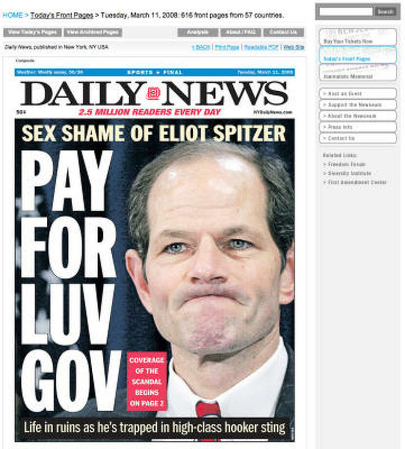 New York Daily News on Eliot Spitzer sex scandal Photo: Newseum.org