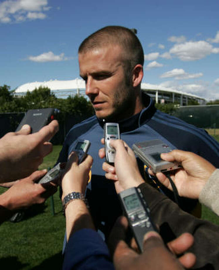 David Beckham speaks to the media during the first official day of practice for the Los Angeles Galaxy at the Home Depot Center in Carson, Calif. Photo: Branimir Kvartuc, AP
