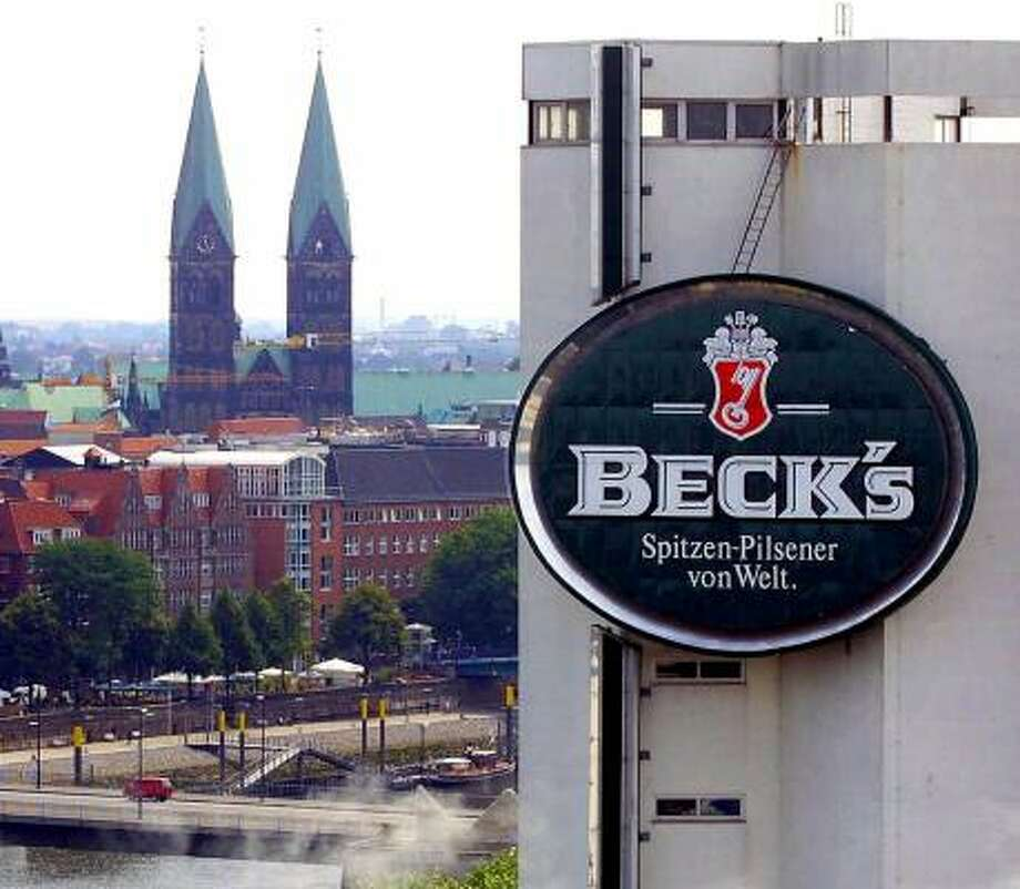 The Beck's beer logo is emblazoned on a brewery in Bremen, Germany. Beck's parent, InBev, has made a $46 billion offer for Anheuser-Busch Cos, the biggest U.S. brewer. Photo: JOERG SARBACH, ASSOCIATED PRESS FILE PHOTOS