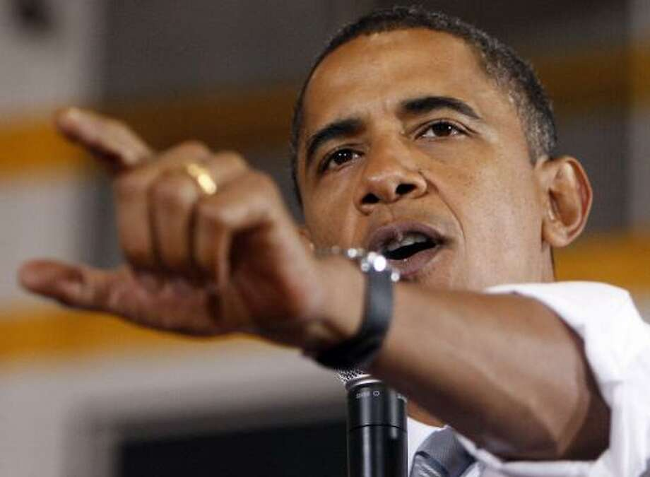 Sen. Barack Obama speaks during a town hall meeting on Monday in Farmington Hills, Mich. Photo: CHRIS CARLSON, ASSOCIATED PRESS