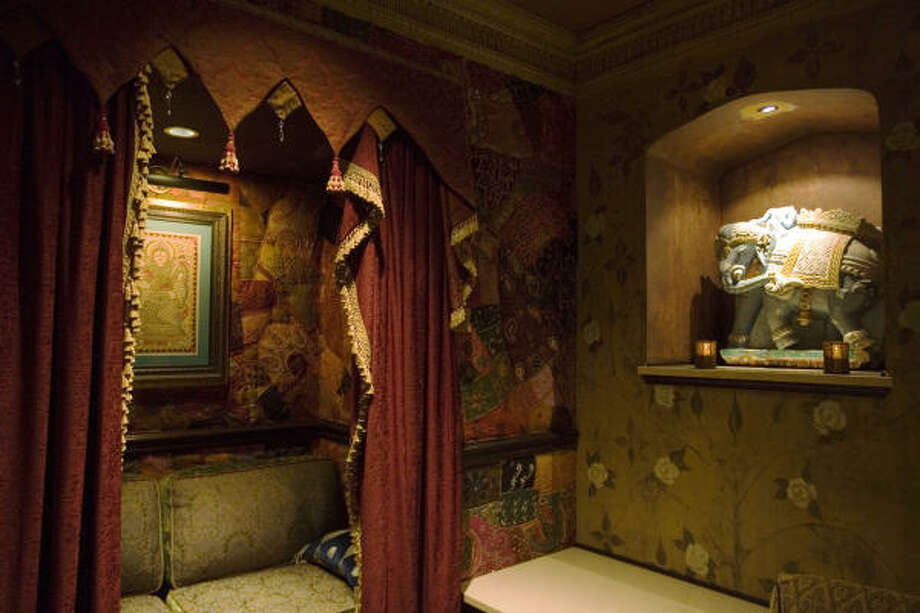 Every inch of the Foundation Room's walls are covered in lavish textiles, many of which are embellished with mirrors, beads and golden threads. Photo: Eric Kayne, Chronicle