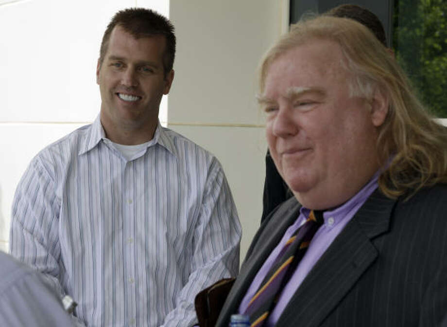 Jeremy Mayfield, left, and his attorney Bill Diehl  talk with reporters May 21 after meeting with NASCAR officials in Concord, N.C. Photo: Terry Renna, Associated Press