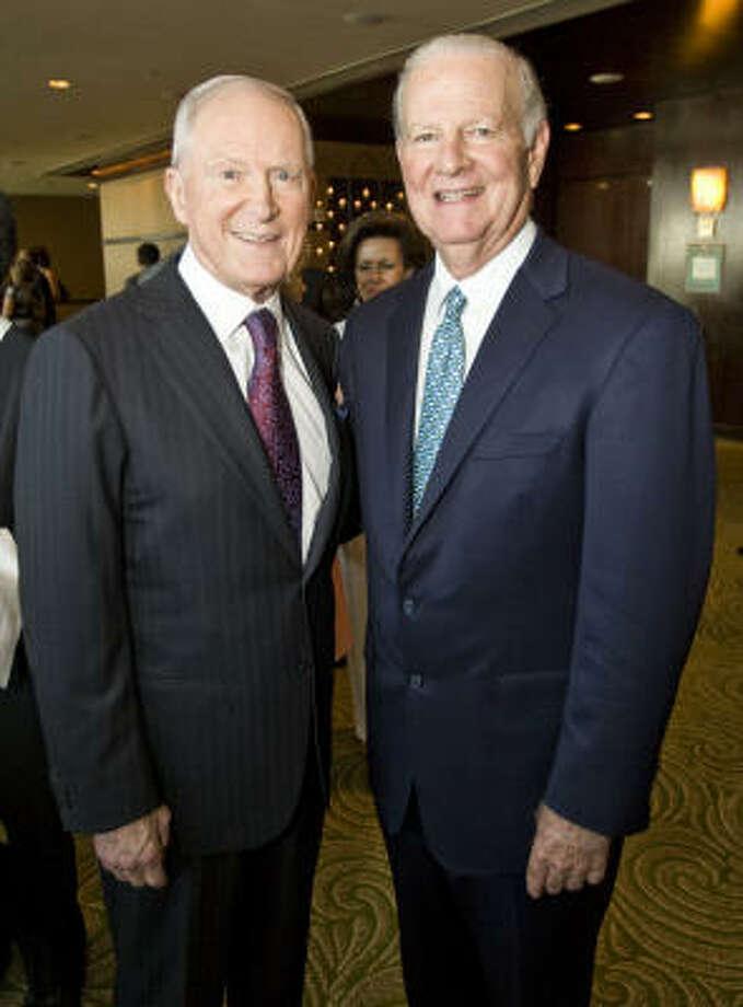 Bill Barnett, left, and James A. Baker III Photo: Nick De La Torre, Chronicle