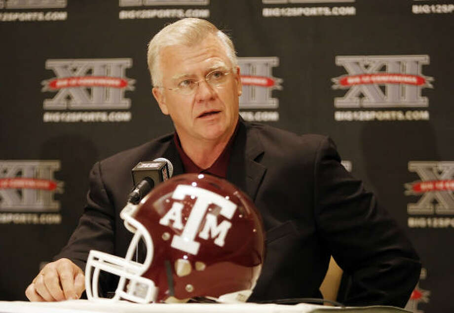 Coach Mike Sherman and the Aggies look to improve upon their 4-8 record (2-6 Big 12) from a year ago. Photo: Brandon Wade, MCT