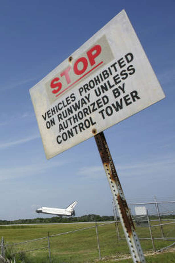 Despite the sign, the space shuttle Endeavour had no problems touching down Friday at the landing facility at Kennedy Space Center in Cape Canaveral, Fla.  Photo: Matt Stroshane, Getty Images