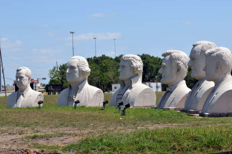 The presidents' busts were to be a feature of the WaterLights District in Pearland. Photo: Kim Christensen:, For The Chronicle