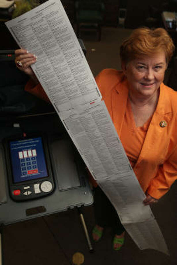 Harris County Clerk Beverly Kaufman shows a ballot that may overwhelm unprepared voters on Election Day. Photo: Mayra Beltran, Chronicle
