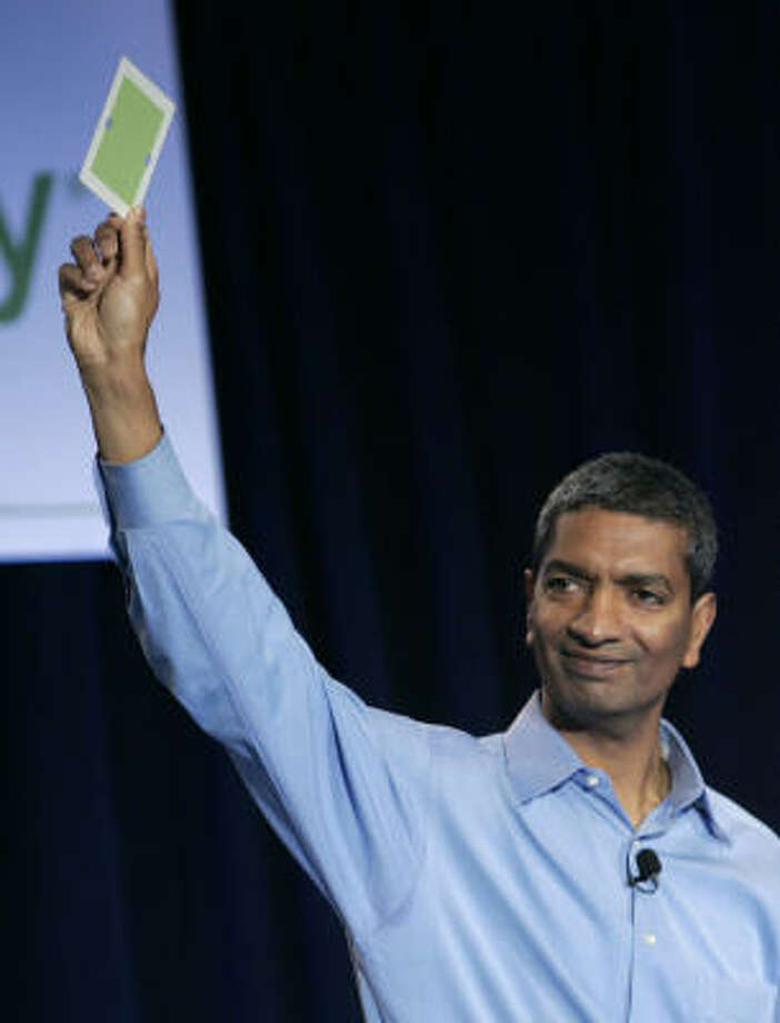 K.R. Sridhar, co-founder and CEO of Silicon Valley startup Bloom Energy, displays a fuel cell Wednesday at a news conference at eBay's offices in San Jose, Calif. Photo: Paul Sakuma:, AP