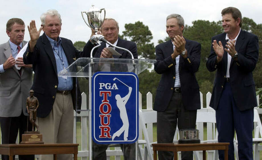 Jack Burke Jr., shown here accepting the PGA Tour Lifetime Achievement Award, will host the 50th annual Champions Cup Invitational from Thursday through Friday at the Champions Club in The Woodlands. Photo: Karl Stolleis, Chronicle