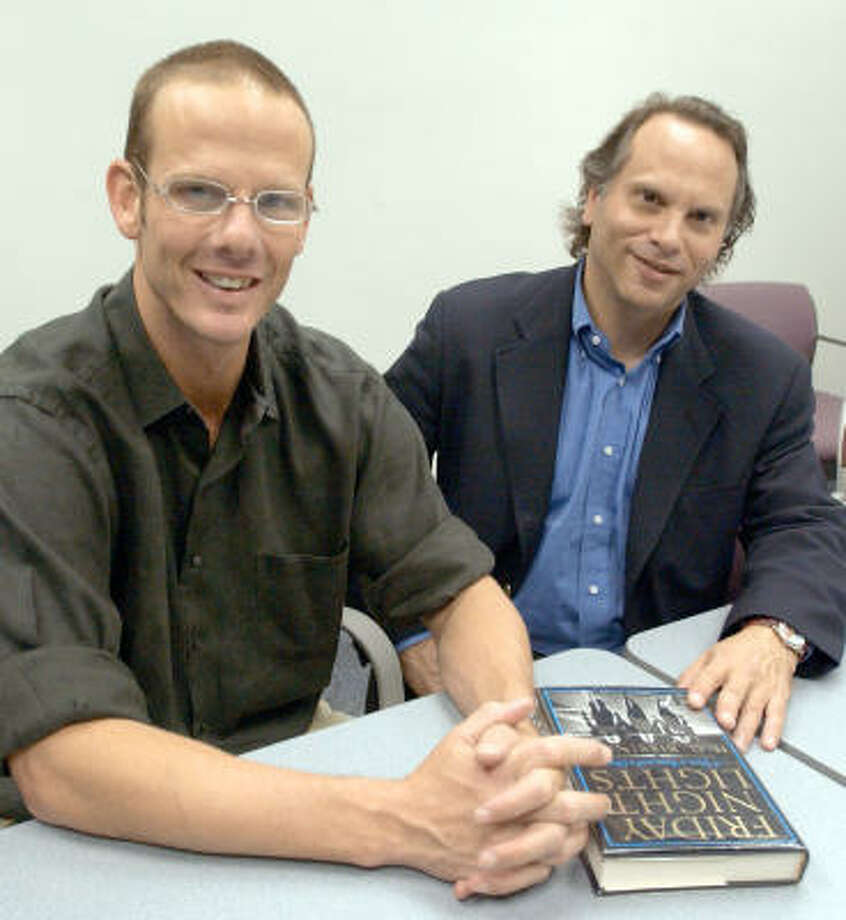 """Shown here with director Peter Berg, author H.G. """"Buzz"""" Bissinger, right, wrote the book Friday Night Lights, which spawned the 2004 movie and the critically acclaimed television series. Photo: RON HEFLIN, AP"""