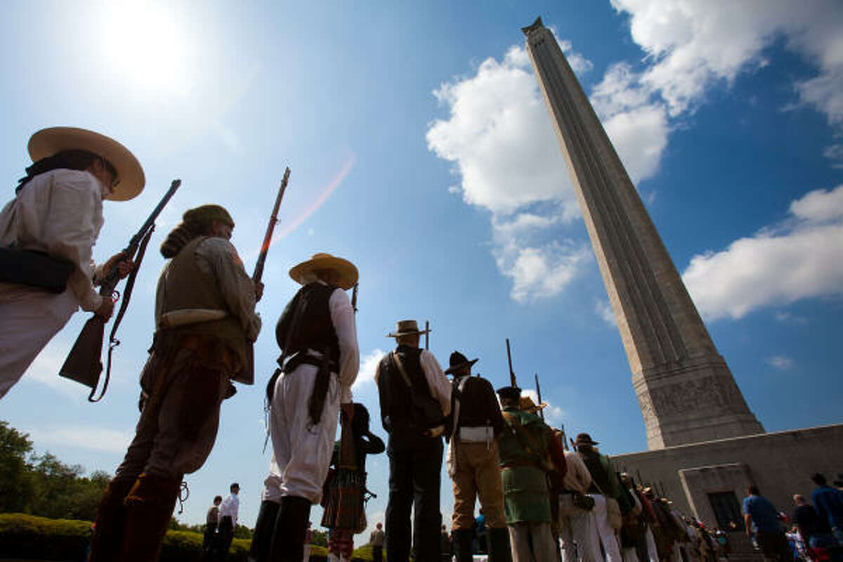 Members of the Texas Army stand in formation during ceremonies commemorating the 174th anniversary in 2010 of the Battle of San Jacinto at the San Jacinto Monument in La Porte.