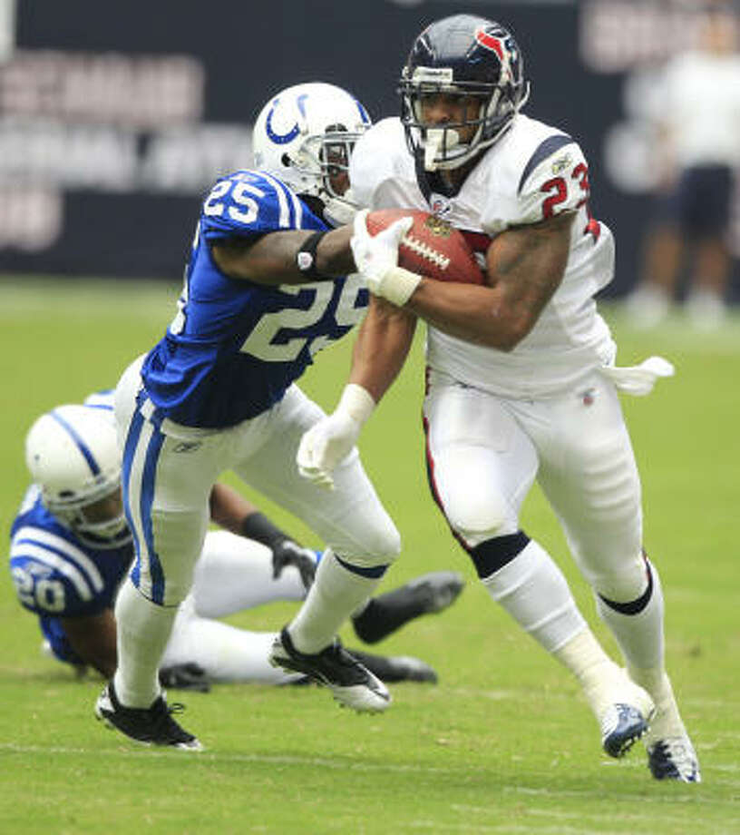Arian Foster (23) had a career game in the Texans' 34-24 opening-day victory over the Colts, but he knows the past will have no bearing on Monday night's rematch - except to motivate those he scorched along the way. Photo: Brett Coomer, Chronicle