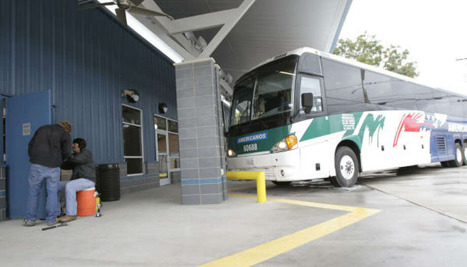 The new terminal will be up and running Tuesday, replacing one on the site that was torn down. Greyhound, Greyhound subsidiary Americanos and Valley Transit will be operating from the site. Photo: Julio Cortez:, Chronicle