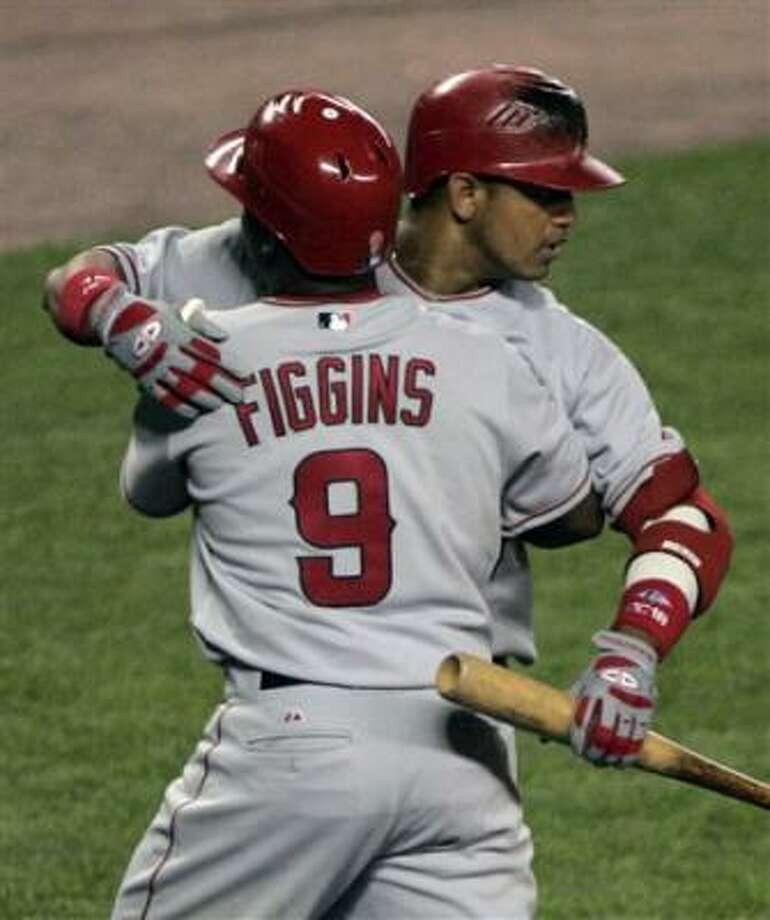 Chone Figgins (9) had a two-run homer against the Yankees. Photo: Julie Jacobson, AP
