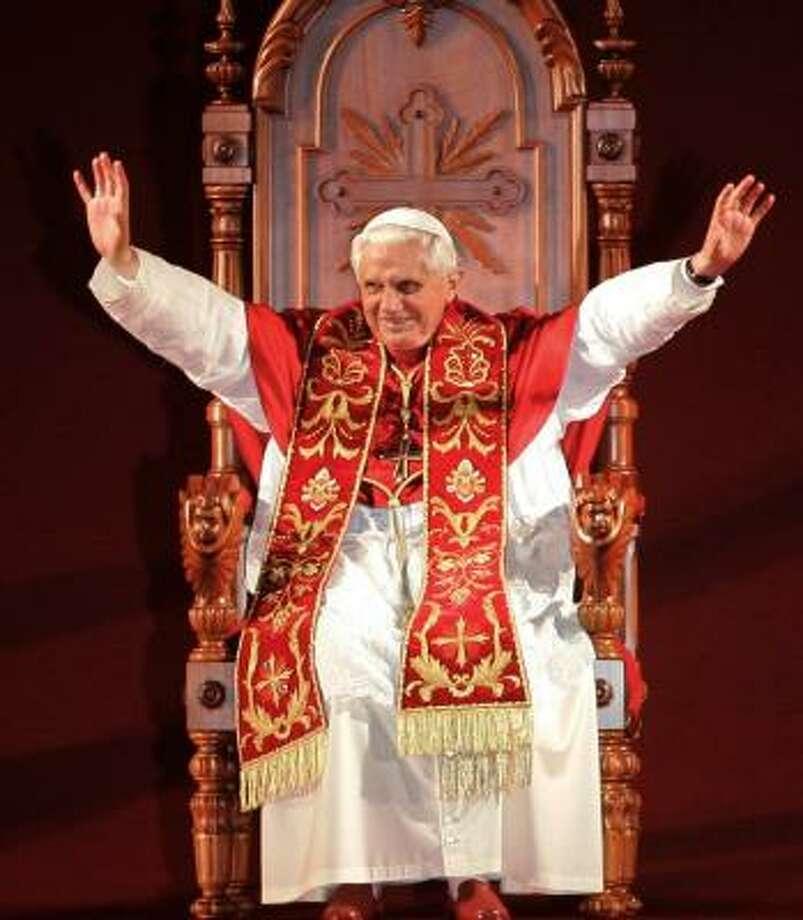 Pope Benedict XVI addresses young Catholics at Pacaembu Stadium in Sao Paulo, Brazil, on Thursday. Photo: SILVIA IZQUIERDO, AP
