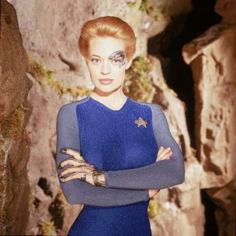 Jeri Ryan portrayed Seven of Nine, a young female Borg who was brought aboard the Federation starship when her ties to the Borg were severed in Star Trek: Voyager. Photo: Jeff Katz, UPN