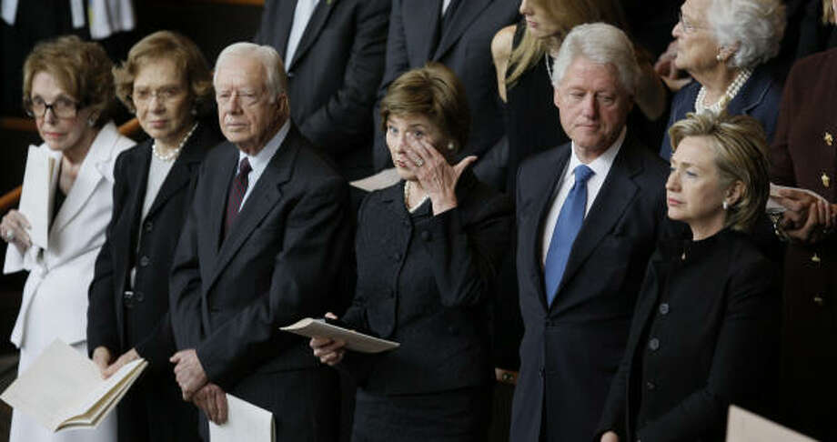 Among those at Lady Bird Johnson's funeral Saturday were former first ladies Nancy Reagan and Rosalynn Carter, former President Carter, first lady Laura Bush, and former President Clinton and U.S. Sen. Hillary Rodham Clinton. Photo: David J. Phillip, AP