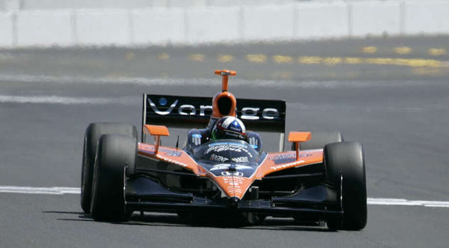 Dario Franchitti earned his second pole of the IndyCar season on Saturday, while Danica Patrick will join him on the front row. Photo: Ben Margot, AP