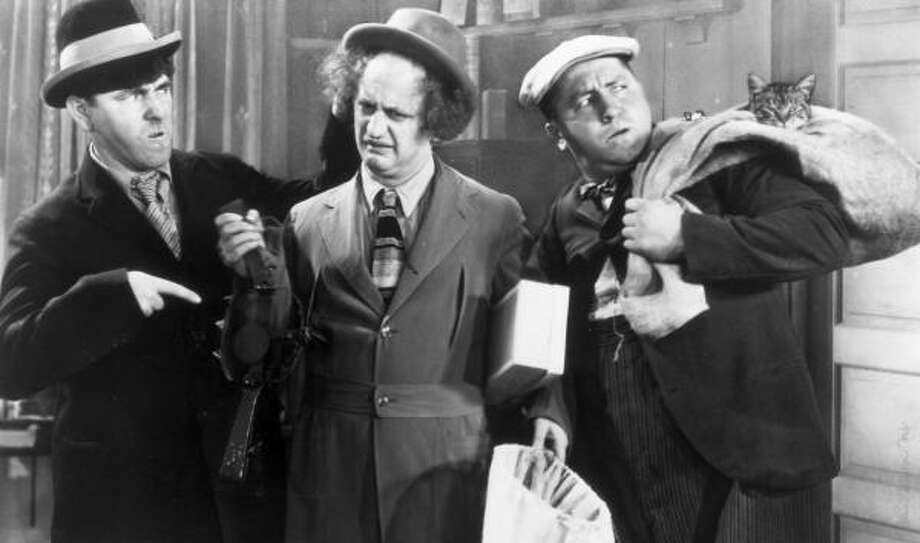 The Three Stooges: Moe Howard, Larry Fine and Curly Howard. Photo: The Family Channel