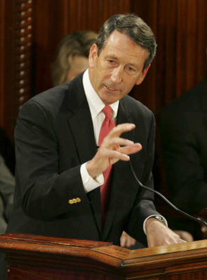 South Carolina Republican Gov. Mark Sanford, shown giving his State of the State address in January, says he may block his state's share of the federal stimulus funds out of concern for its long-range fiscal consequences. Photo: Mary Ann Chastain, AP