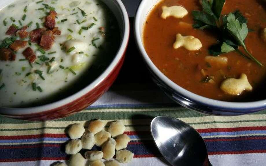 New England Chowder, left, uses milk and cream; Manhattan-style uses tomatoes. Photo: JOHNNY HANSON, CHRONICLE