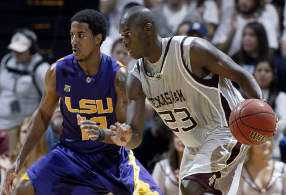 Josh Carter, right, and Texas A&M will renew their series with LSU as part of a Toyota Center doubleheader. Photo: Paul Zoeller, AP