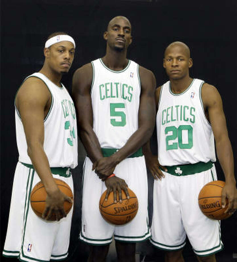 Paul Pierce, from left, Kevin Garnett and Ray Allen look to lead Boston to a second straight NBA title in 2008. Photo: Elise Amendola, AP