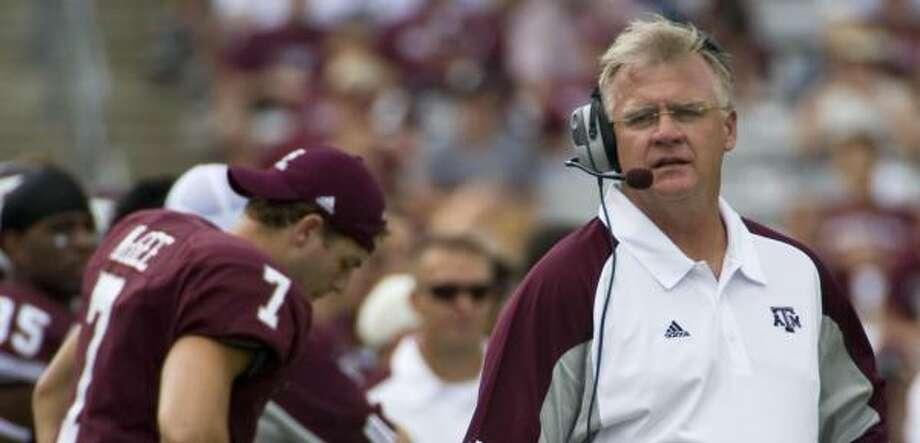 Texas A&M head coach Mike Sherman hopes to avoid an 0-3 record at Kyle Field today against Army. Photo: Dave Einsel, AP