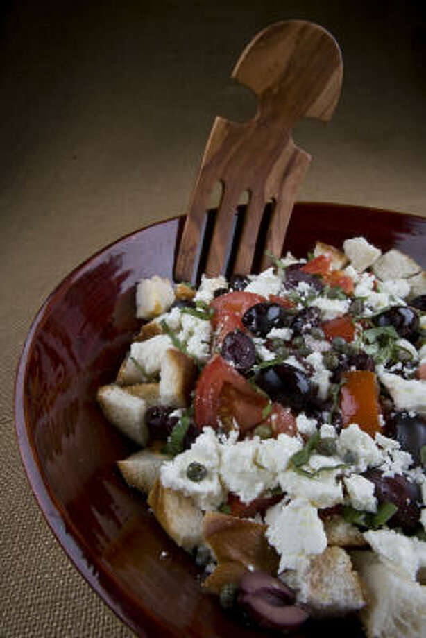 Tomato and Bread Salad With Feta, Basil and Capers Photo: James Nielsen, Chronicle