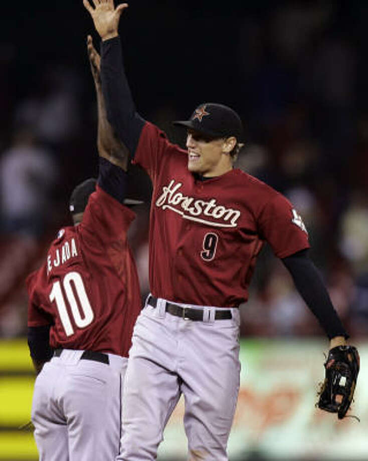Hunter Pence, right, and Miguel Tejada will bring their fun-loving attitudes from Minute Maid Park to the All-Star game. Photo: Jeff Roberson, AP