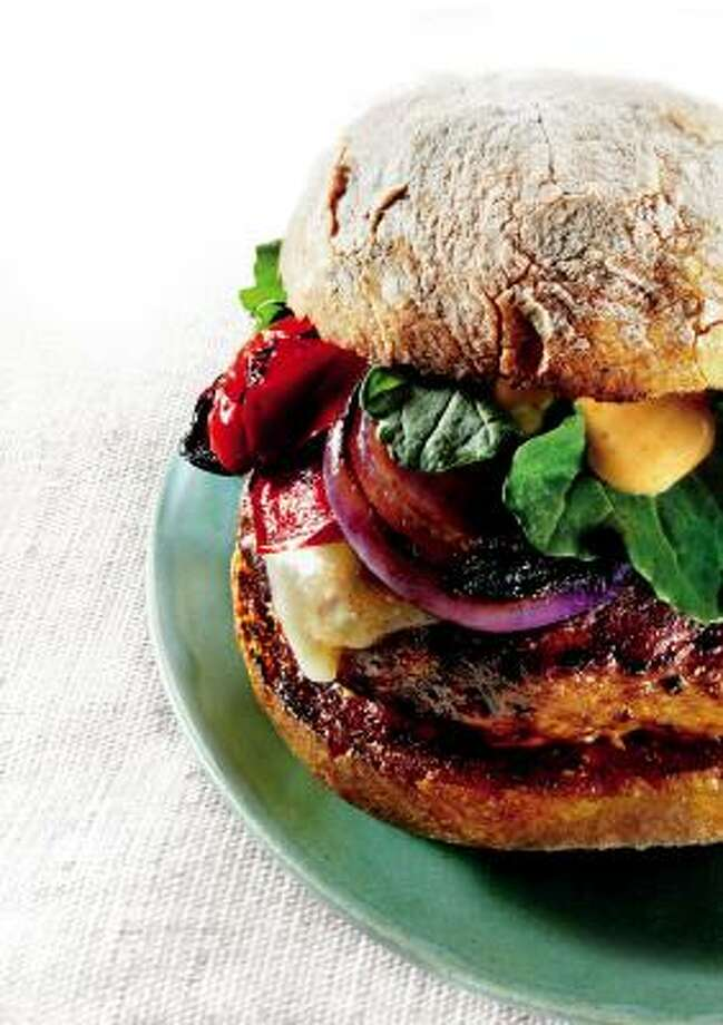 Grilled Turkey Burgers With Cheddar and Smoky Aioli Photo: NIGEL COX :, BON APPÉTIT