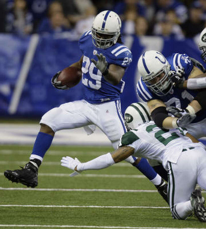 Joseph Addai is the top rusher on a Colts team last in the league in yards on the ground. Photo: Michael Conroy, AP