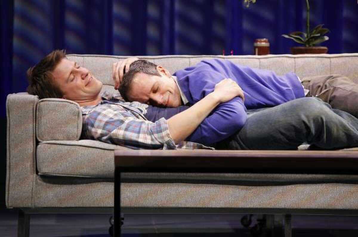 In Next Fall, a Tony-nominated Broadway play, Patrick Heusinger, left, plays Luke, a gay evangelical, and Patrick Breen plays his skeptical lover, Adam.