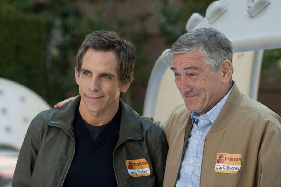 The test of wills between Greg Focker (Ben Stiller, left) and father-in-law Jack Byrnes (Robert De Niro) goes on in the third film about the Focker clan. Photo: Glen Wilson