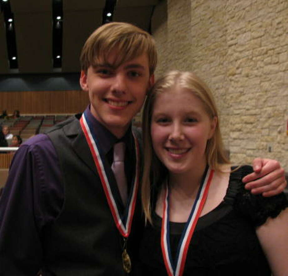 TOP THESPIANS: The University Interscholastic League 5-A, Region 3, Area 1 best actor is Jon Cozart of Cypress Creek High School. Best actress is Logan Hardy of Cypress Ranch High School. Photo: Don Maines, For The Chronicle