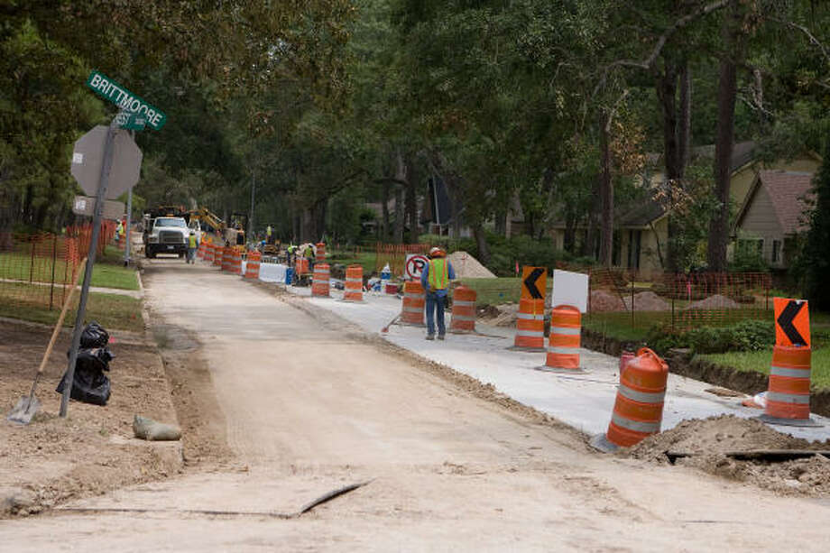 BETTER DRAINAGE: The Memorial Plaza area, along Brittmoore between Memorial and the Katy Freeway, is getting new streets and improved storm drainage. Several new drainage projects have started or will begin to help relieve drainage problems the area has been hit with this year. Photo: R. Clayton McKee, For The Chronicle