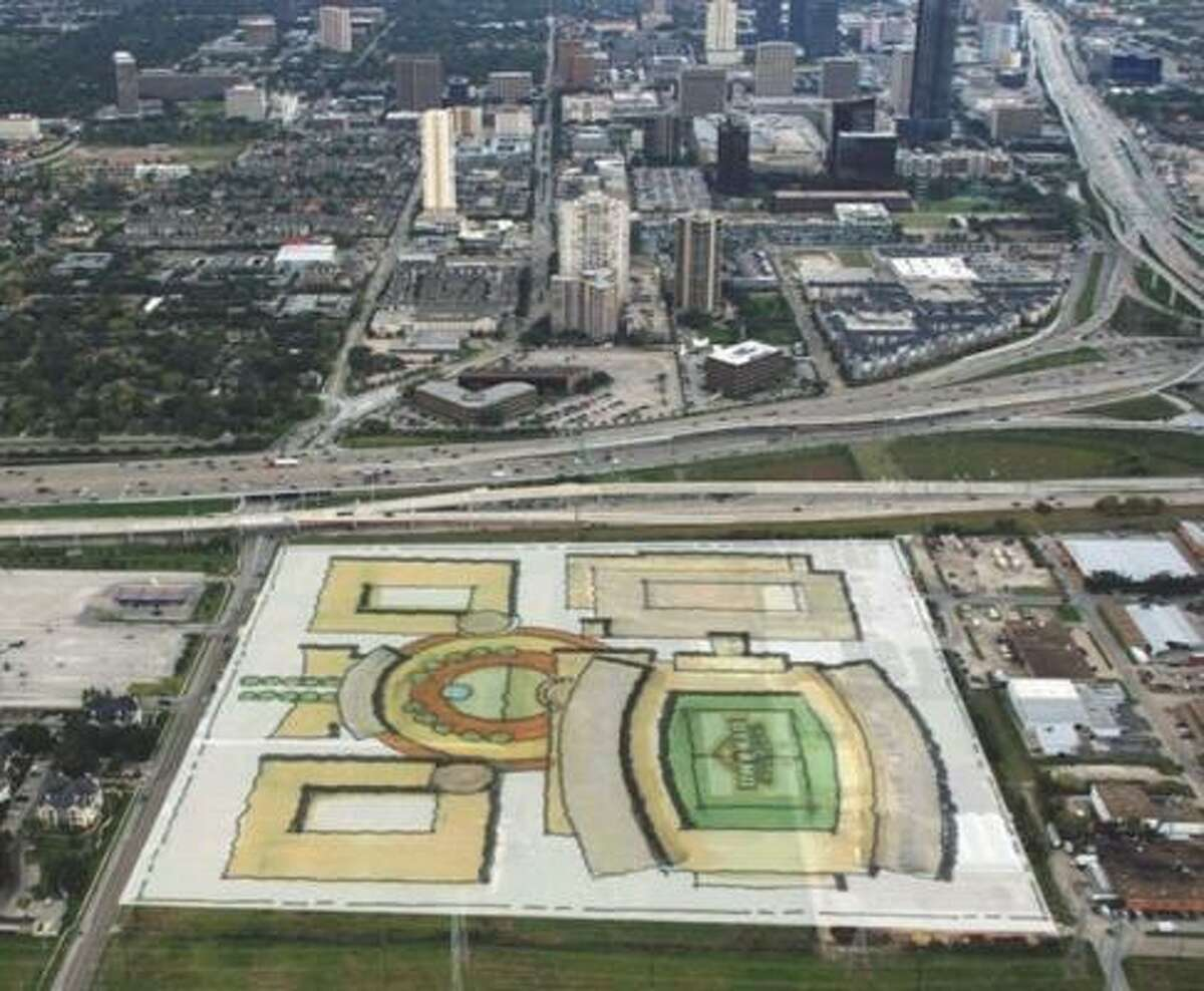 A preliminary schematic of what a proposed soccer stadium site in southwest Houston might look like if Midway Cos. and the Houston Dynamo strike a deal.
