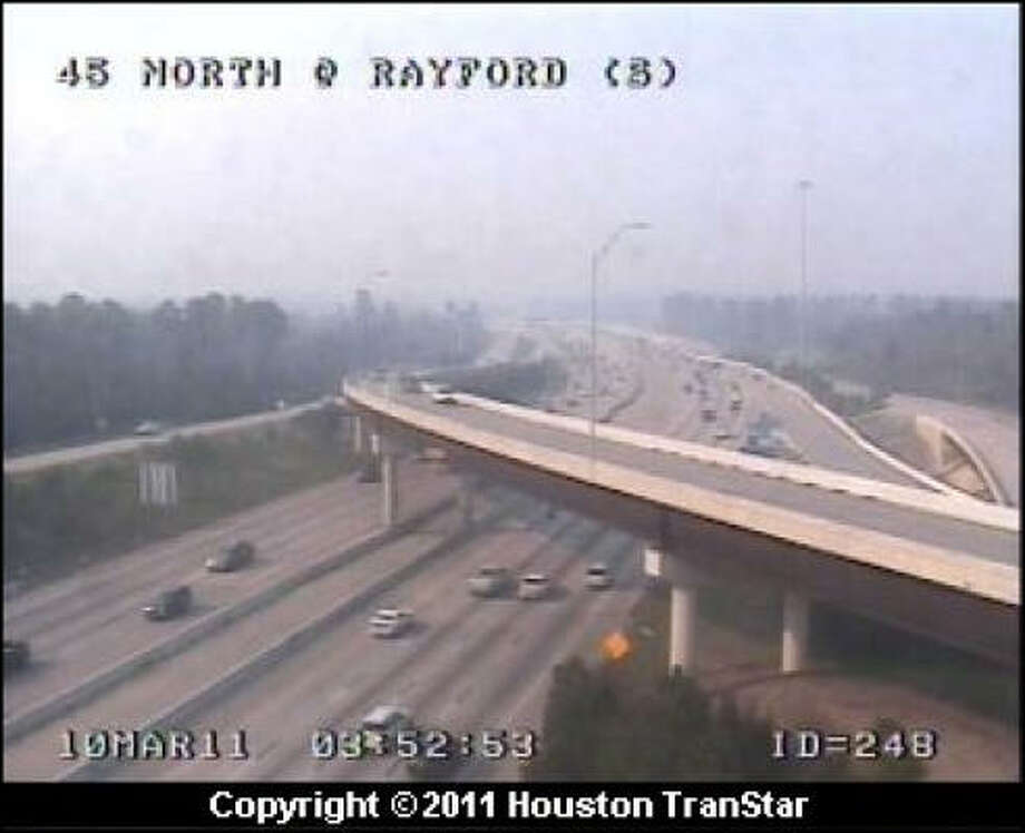 Interstate 45 at Rayford this afternoon. Photo: Houston TranStar