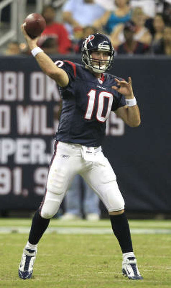 John David Booty stated his own case for at least making the team as the No. 3 quarterback. Photo: Brett Coomer, Chronicle