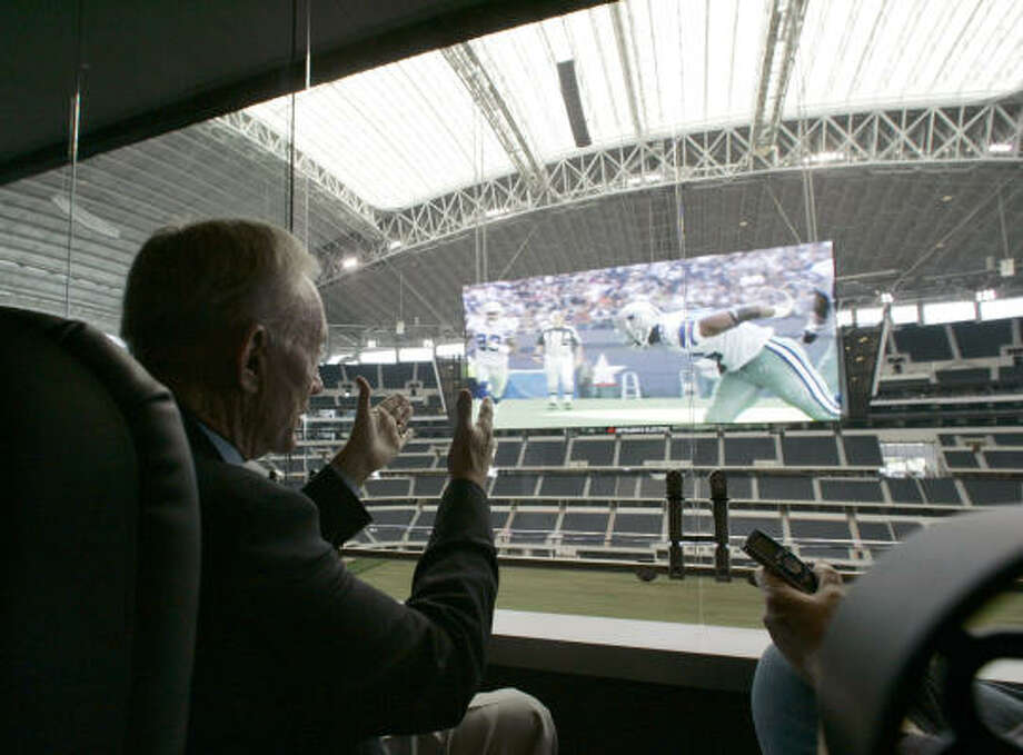 In his stadium, Jerry Jones will have to sit back and watch two other teams play for something his Cowboys haven't come close to the past 15 years — a Super Bowl title. Photo: Donna McWilliam, AP