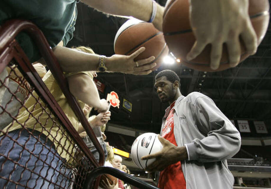 Greg Oden didn't just become more talented with a year of college. He's more famous, too. Photo: Kiichiro Sato, AP