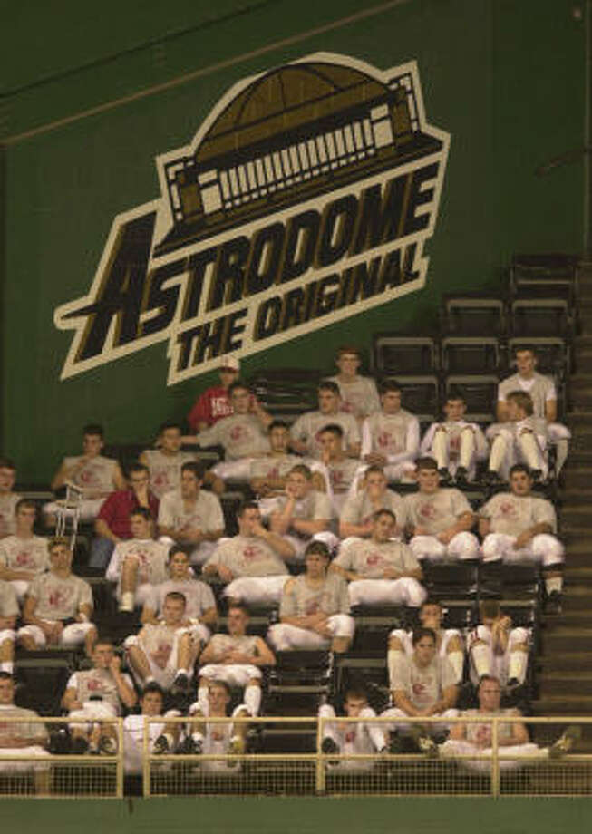 Double and triple-headers were common at the Astrodome, with Katy players taking in an early game in 2000. Photo: SMILEY N. POOL, HOUSTON CHRONICLE