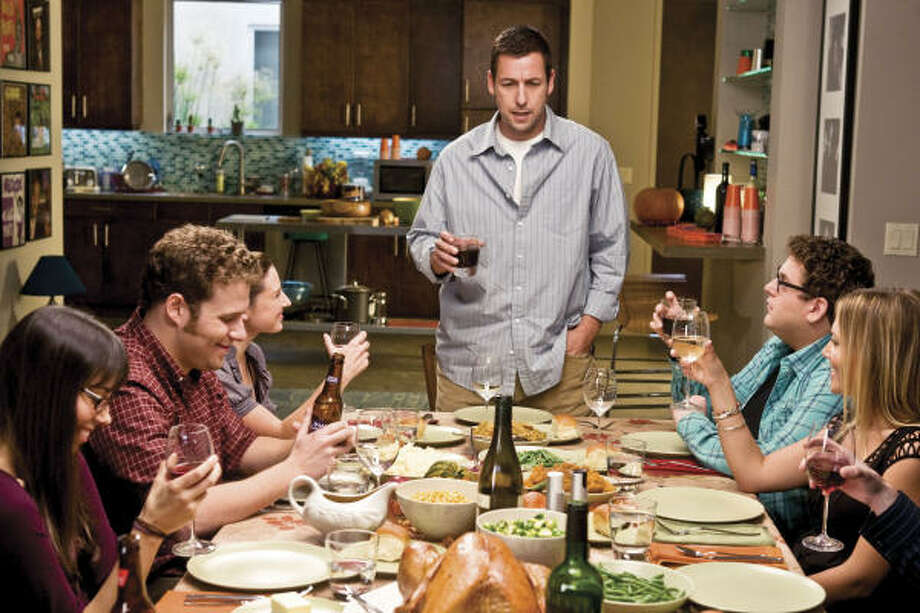 Although Adam Sandler, center, is the star of Funny People, it's the cameo appearances that will generate laughs in Judd Apatow's new comedy. Photo: Tracy Bennett :, Universal Pictures