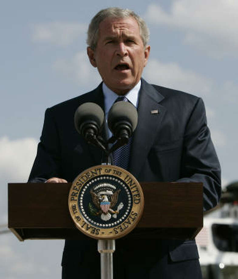 "President Bush makes a statement about the resignation of Attorney General Alberto Gonzales in Waco.  Bush said he had ""reluctantly"" accepted Gonzales's resignation with great appreciation for the service he provided to his country. Photo: Evan Vucci, AP"