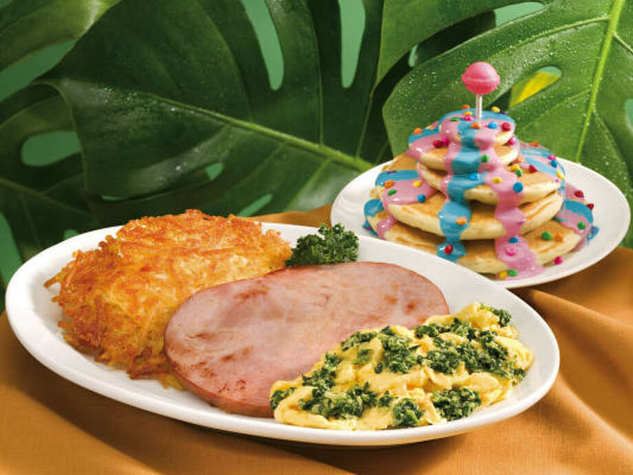 IHOP's Mayor's Breakfast, being served at IHOP in line with the release of the movie Horton Hears a Who, boasts scrambled eggs with spinach; ham strips; hash browns and a stack of Who-Cakes covered with boysenberry and blueberry glaze, pinned together with a big ol' pink lollipop.