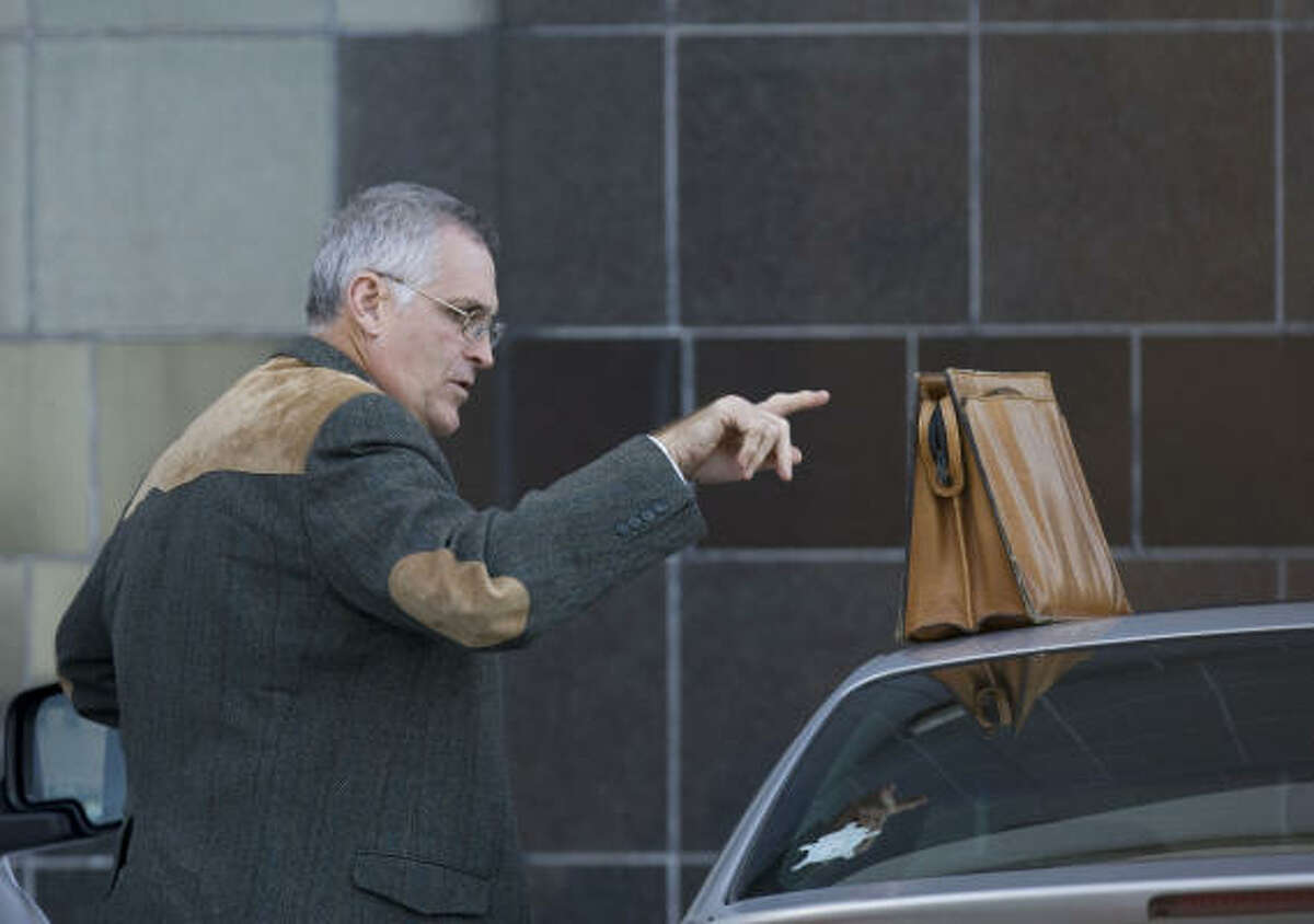 U.S. District Judge Samuel Kent, shown arriving this week at the Bob Casey Federal Courthouse in Houston, was indicted by a grand jury on new charges of sexually abusing another court employee and lying about it to a judicial disciplinary panel. He has pleaded not guilty.